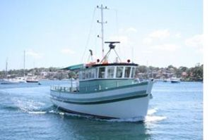 Front view of deep sea fishing charter