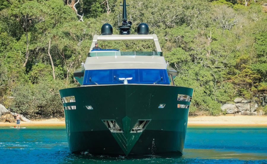 Bow view of Super yacht hire on Shadow