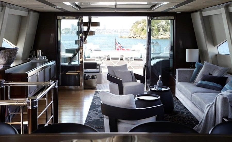 Super yacht hire on Quantum saloon looking aft