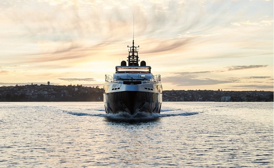 Super yacht hire Sydney on Ghost II bow view
