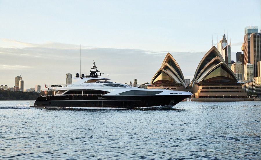 Super yacht hire Sydney on Ghost II passing Opera House